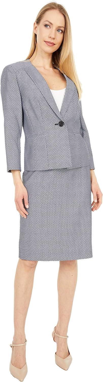 Le Suit Women's Petite 1 Button Collarless Diamond Stretch Jacquard Seamed Skirt Suit