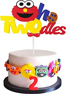 PANTIDE Sesame Inspired Two Birthday Cake Topper, Oh Twodles 2nd Birthday Cake Topper Sesame Party Decoration Party Suppli...