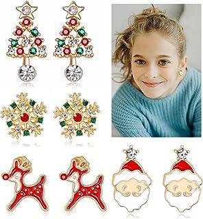 Rhinestone Crystal Christmas Stud Earrings Gift Set for Women Girls Holiday Jewelry Thanksgiving Xmas Reindeer Snowflake S...
