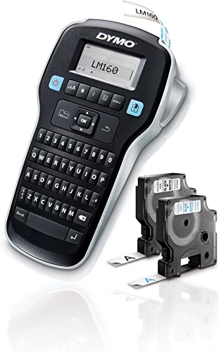 DYMO Label Maker with 2 D1 DYMO Label Tapes | LabelManager 160 Portable Label Maker, QWERTY Keyboard, One-Touch Smart...