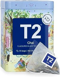 T2 Tea Chai 25 Black Tea Bags in Limited Edition Tin, 2.2 oz