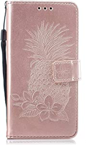 Bear Village  Galaxy 2017 Case  Premium Leather Wallet Case with Viewing Stand and Card Slots  Magnetic Flip Cover for Samsung Galaxy 2017  Rose Gold