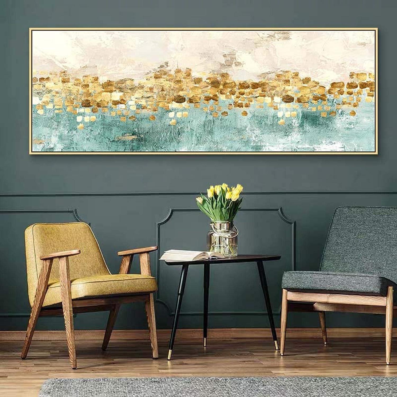 KELEQI Abstract Nashville-Davidson Mall Inexpensive Green Golden Painting Scandinavian Canvas Poster
