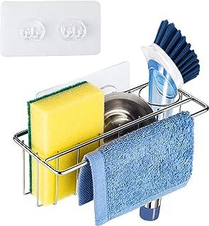 Kitchen Sink Sponge Holder 3 in 1, ULG Sponge Holder+Brush Holder+Dish Cloth Holder, Stainless Steel Kitchen Sink Caddy Or...