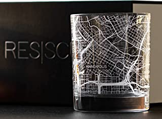 RESSCU Minneapolis Map, Rocks Glasses Set of 2, Unique Gifts, College Town Etched Glasses