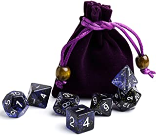 Polyhedral Dice Sets Blue Galaxy Dice Great for Dungeons and Dragons & Tabletop Games,  RGP & DnD Games,  Math & MTG