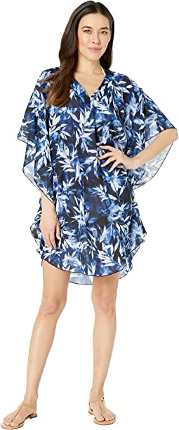 Printed in the Navy Chiffon Caftan Cover-Up