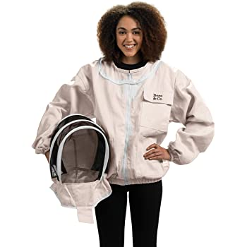Bees & Co K74 Natural Cotton Beekeeper Jacket with Fencing Veil