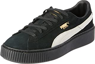 PUMA Women's Suede Platform Fl, Black- White-Gold, Sneakers