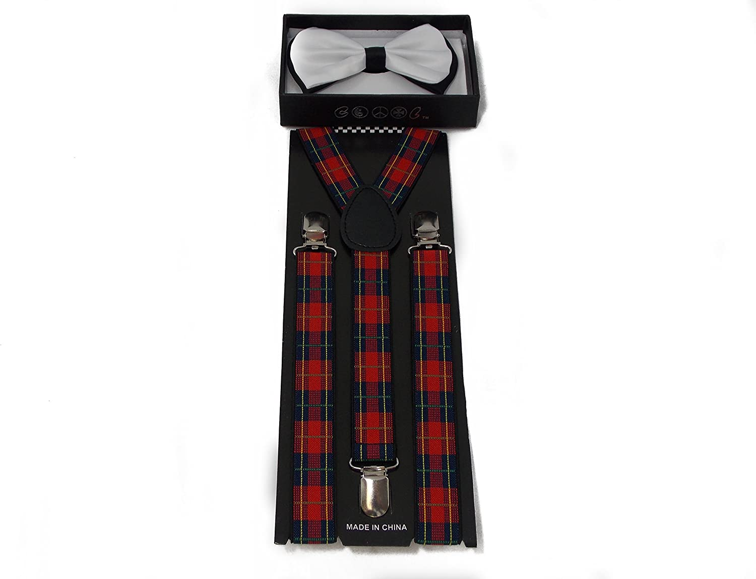 White with Black Accent Bow Tie and Plaid Suspender