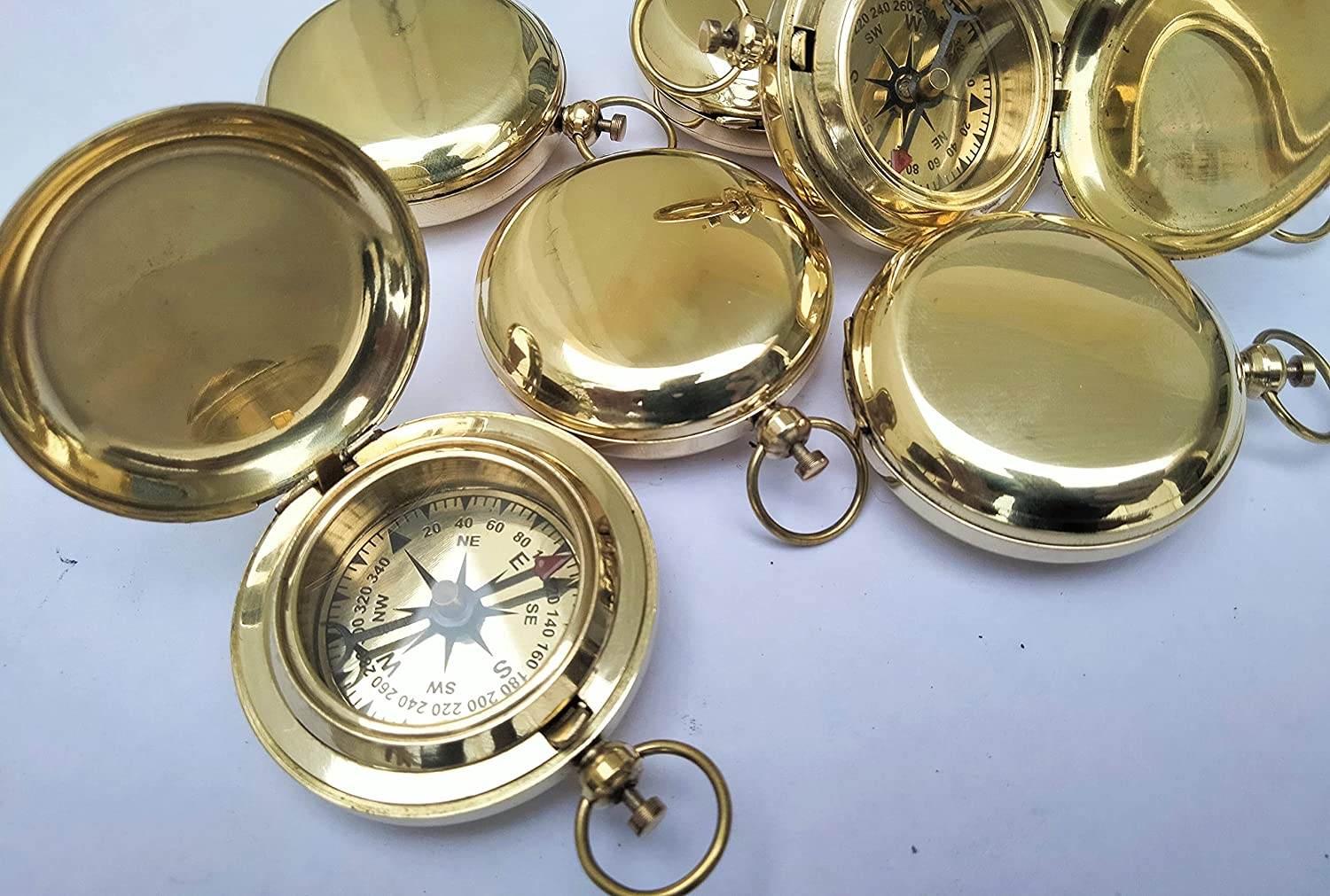 Vintage Flipout Compass Set of Many popular brands 6 Push Pocket Discount is also underway Compas Brass Button