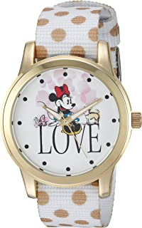DISNEY Women's Minnie Mouse Analog-Quartz Watch with Nylon Strap, White, 19 (Model: WDS000257)