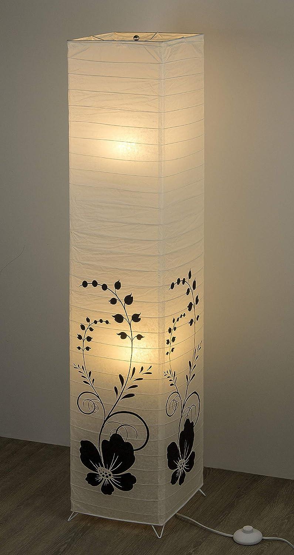 Trango TG1215 Lampadaire en papier de riz carr/é avec tiges d/écoratives noires 125 cm de hauteur