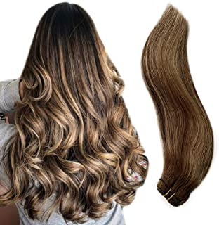 Ubetta Brazilian Hair Weft Sew in Extensions Brown Roots to Chocolate Brown with Blonde Highlighted Hair Bundles 100 Gram ...