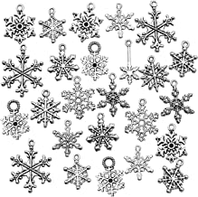 Snowflake Charm-100g (about 80-90pcs) Antique Silver Christmas Snowflake Charms Pendants for Crafting, Jewelry Findings Making Accessory For DIY Necklace Bracelet HK27 (Snowflake Collection)