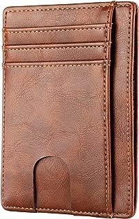 Apsung Slim Minimalist Front Pocket RFID Blocking Leather Wallets for Men Women (Brown)