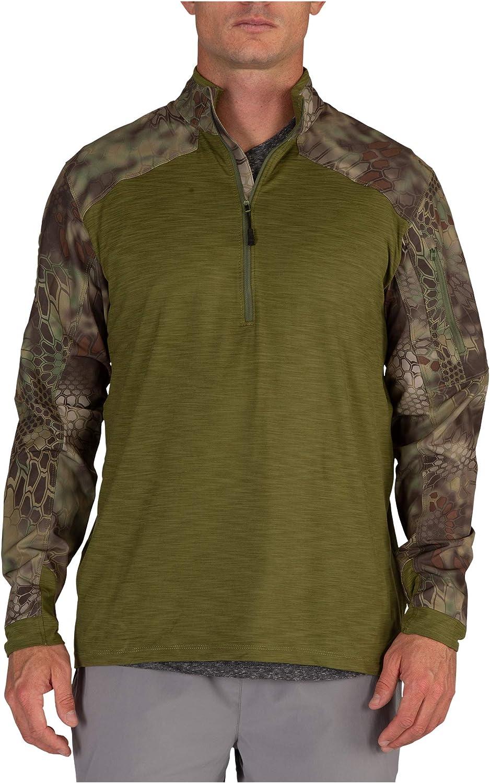 Camo Long Sleeve Rapid Assault Shirts Military T-Shirt with Pockets Mens 1//4 Zip Tactical Combat Shirt