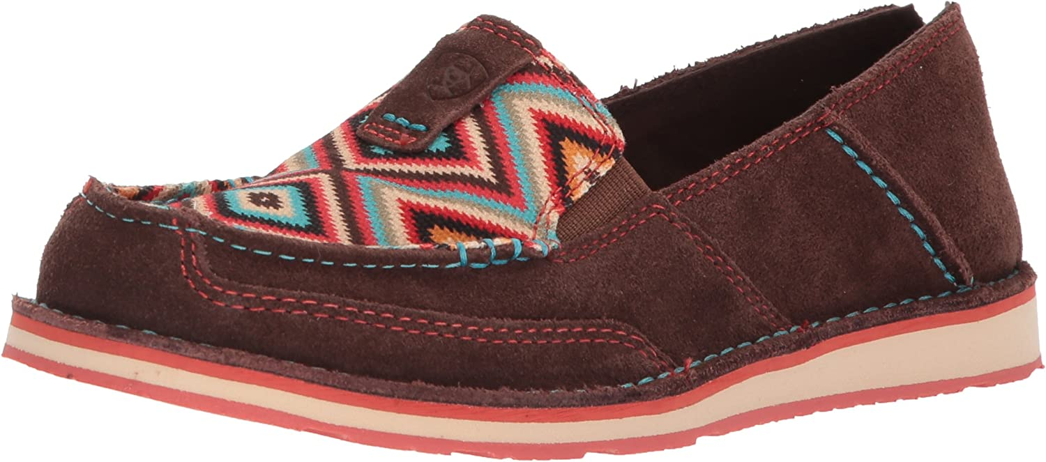 Ariat Women's Cruiser Slip-on shoes, Coffee Bean Suede Pastel Aztec Print, 8 B US