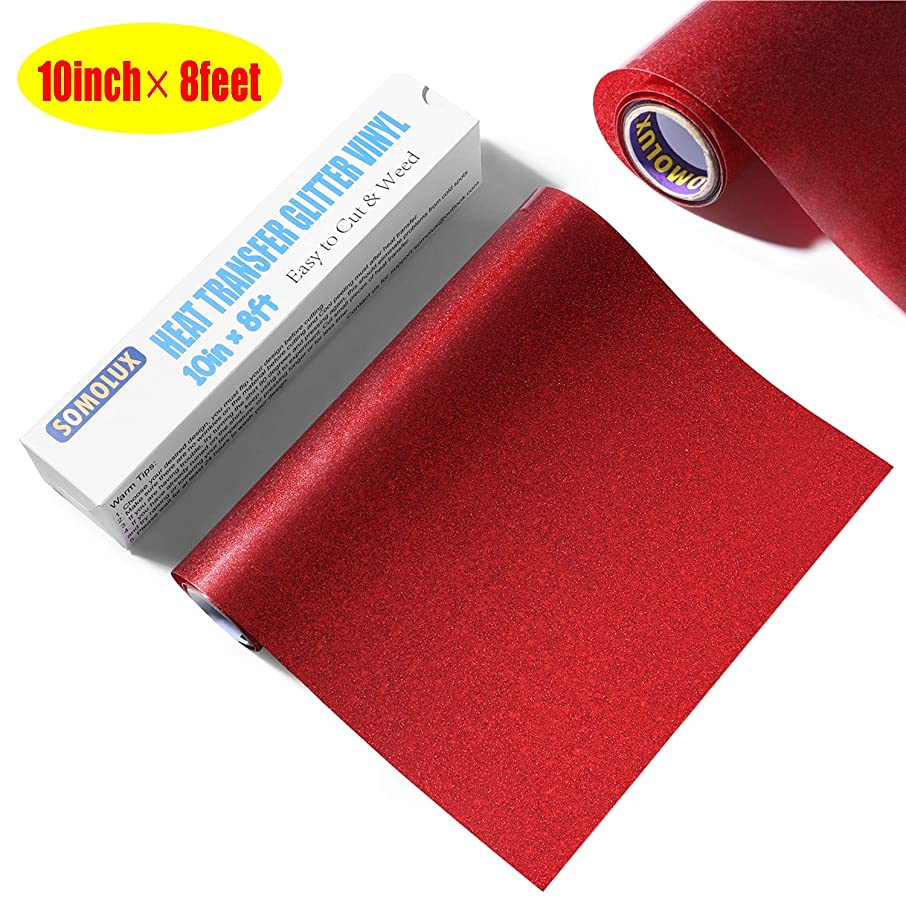 Glitter HTV Iron on Vinyl 10inch x 8feet Roll by SOMOLUX for Silhouette and Cricut Easy to Cut & Weed Heat Transfer Vinyl DIY Heat Press Design for T-Shirts Red
