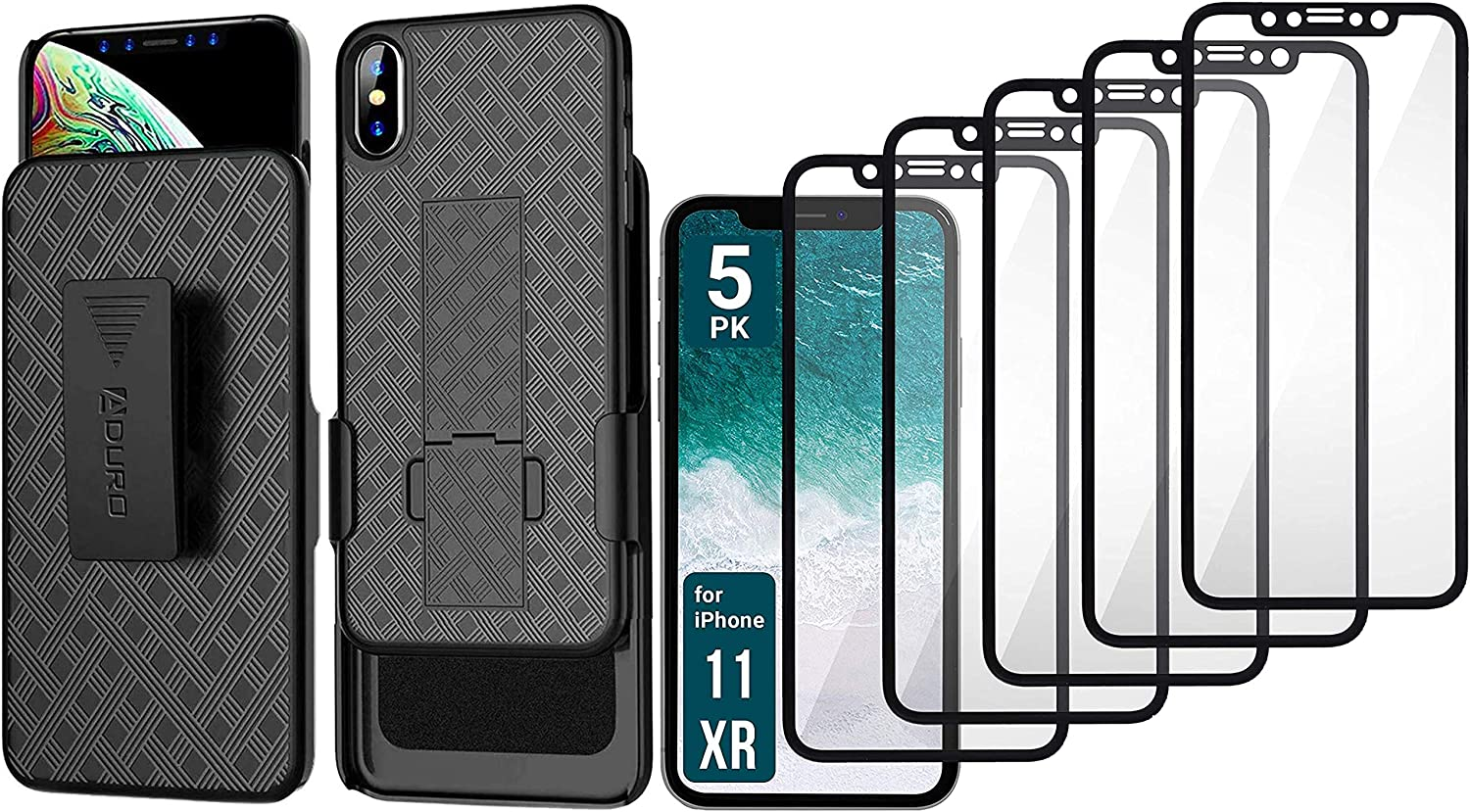 Aduro iPhone XR Holster Case & Screen Protector for Apple iPhone XR/10R Bundle Combo Shell & Holster Case Swivel Belt Clip with Kickstand Plus 5-Pack Shatterguardz Tempered Glass