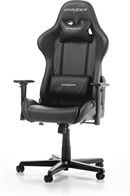 DXRacer Formula F08 Gaming Chair, Black, Piel sintética, Negro, 67 x 67