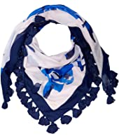 Kate Spade New York - Hibiscus Square Scarf with Tassels
