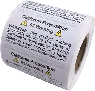 Firstzi California Proposition 65 Warning Labels, 2x1 Inch 500 Labels, Self Adhesive Chemicals Notice Stickers, Perforated for Easy to Peel, P65 Health Alert Sign