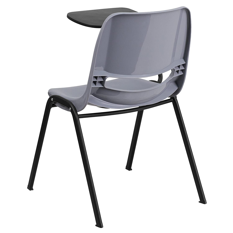 OLIVER Gray Ergonomic Shell Chair with Left Handed Flip-Up Tablet Tablet Arm Desk EMMA