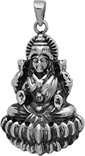 Oxidized Finish 925 Sterling Silver Goddess Lakshmi (Laxmi Mata) Hindu Religious Pendant