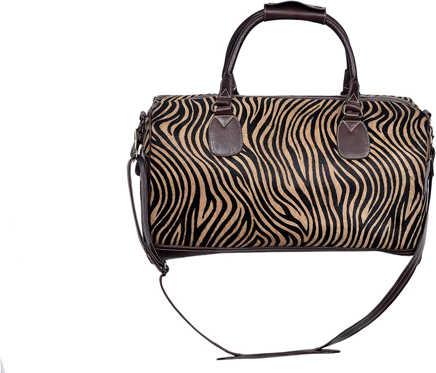 New Large Brown Fur Zebra Print Premium Real Cowide Leather Weekend Holdall Bag