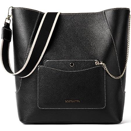 BOSTANTEN Leder Handtasche Schultertasche Damen Groß Umhängetasche Hobo Taschen Mode Beuteltasche Bucket Bag Schwarz