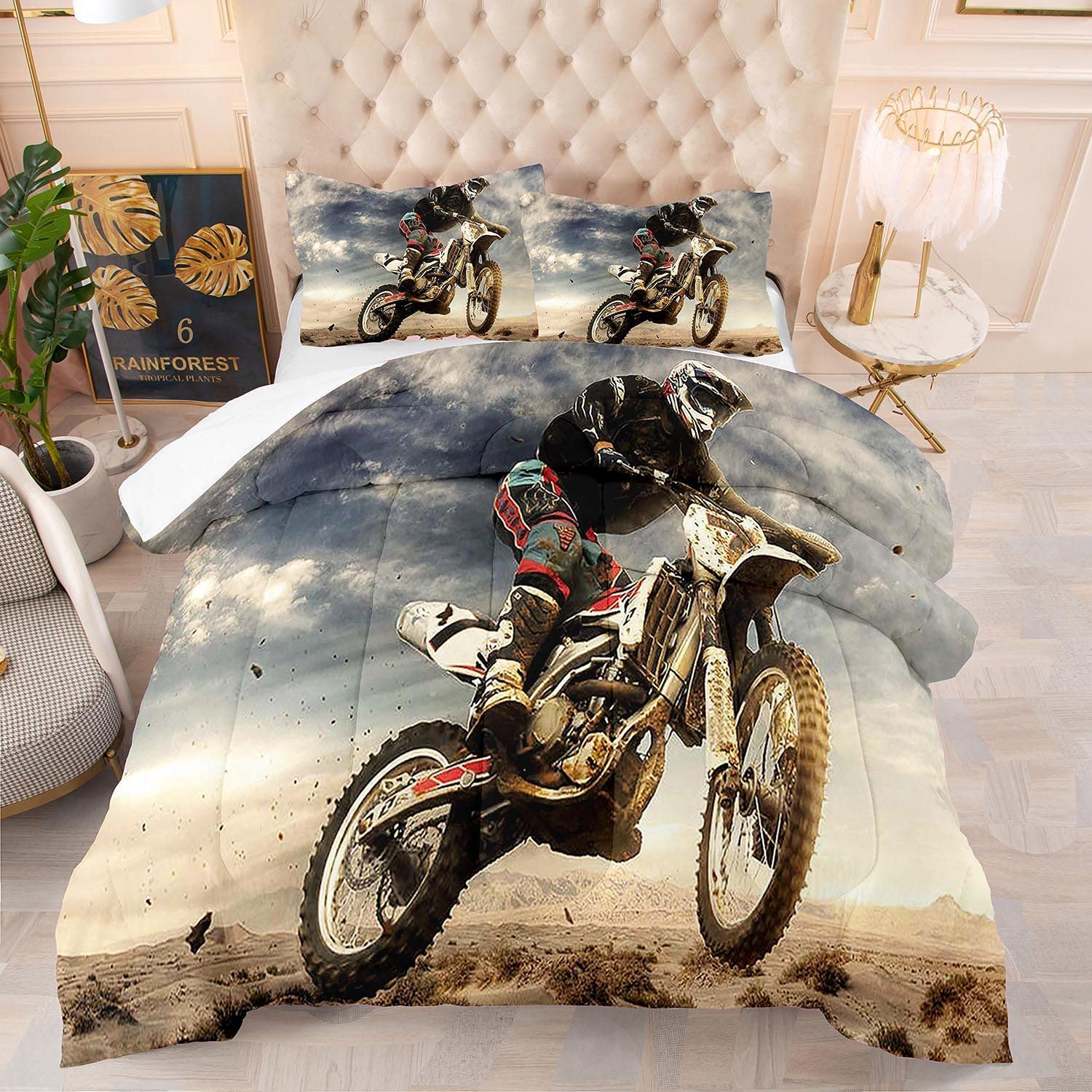 kxry Racing Motorcycle Motocross Large-scale sale Purchase Comforter Size Bi Dirt Full Set