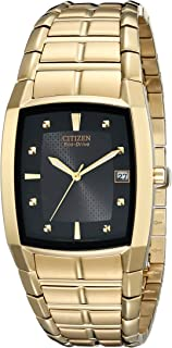 Men's Eco-Drive Stainless Goldtone Watch with Black Dial