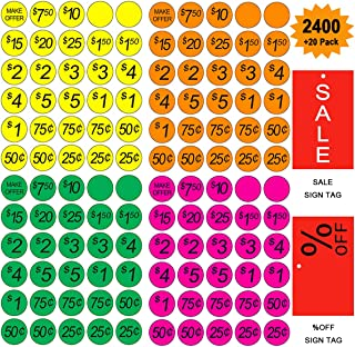 Garage Sale Pricing Stickers, Yoklili Preprinted Price Labels - Bright Neon Removable Sale Stickers with Prices, Multicolored in Yellow/Pink/Green/Orange, Pack of 2400,Sale & Percent off Sign Included