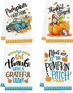 Hexagram Thanksgiving Kitchen Towels, Decorative Fall Thanksgiving Kitchen Towels Set of 4, Microfiber Dish Towel Housewar...
