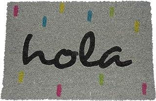 koko doormats Felpudo para Entrada de Casa Hola Original y Divertido/Fibra Natural de Coco con Base de PVC, 40x60 cm