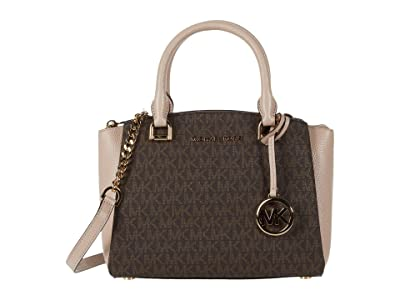 MICHAEL Michael Kors Maxine Small Messenger (Brown/Soft Pink) Messenger Bags