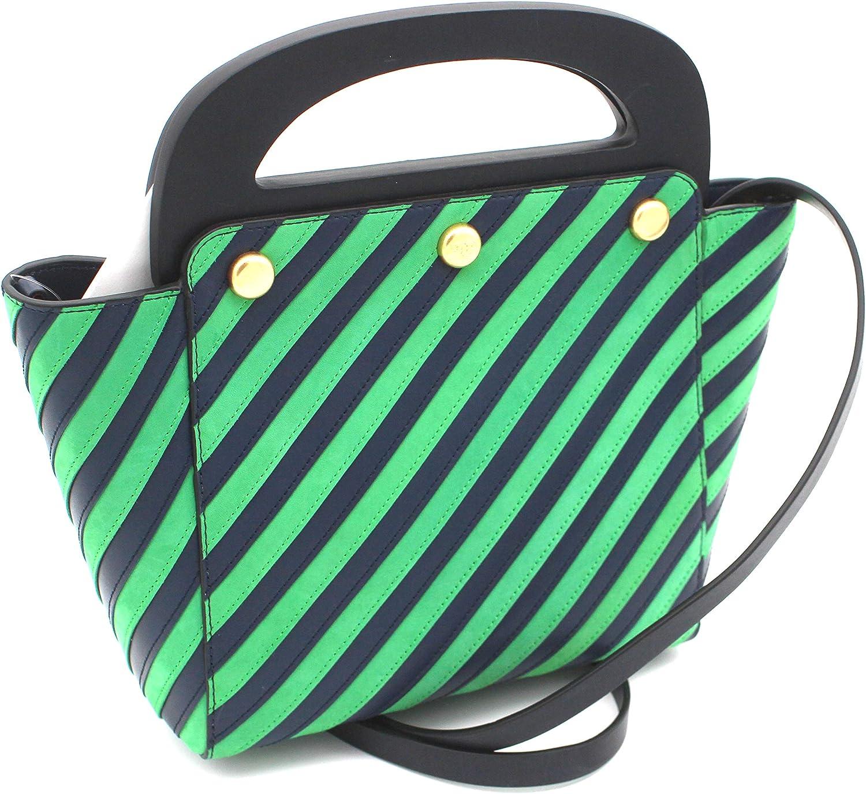 Tory Burch Striped Leather Satchel Crossbody Bermuda Bag (Court Green)