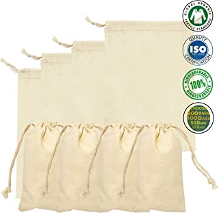 8x10 inches -100% Cotton Organic Muslin bags, Natural Color (PACK OF 100)