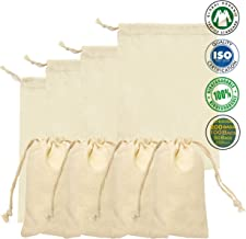 "Size 8"" x 12"" inches 100% Organic Cotton, Biodegradable and Reusable Premium Quality Muslin Drawstring Bags (Qty : 25 Bags)"
