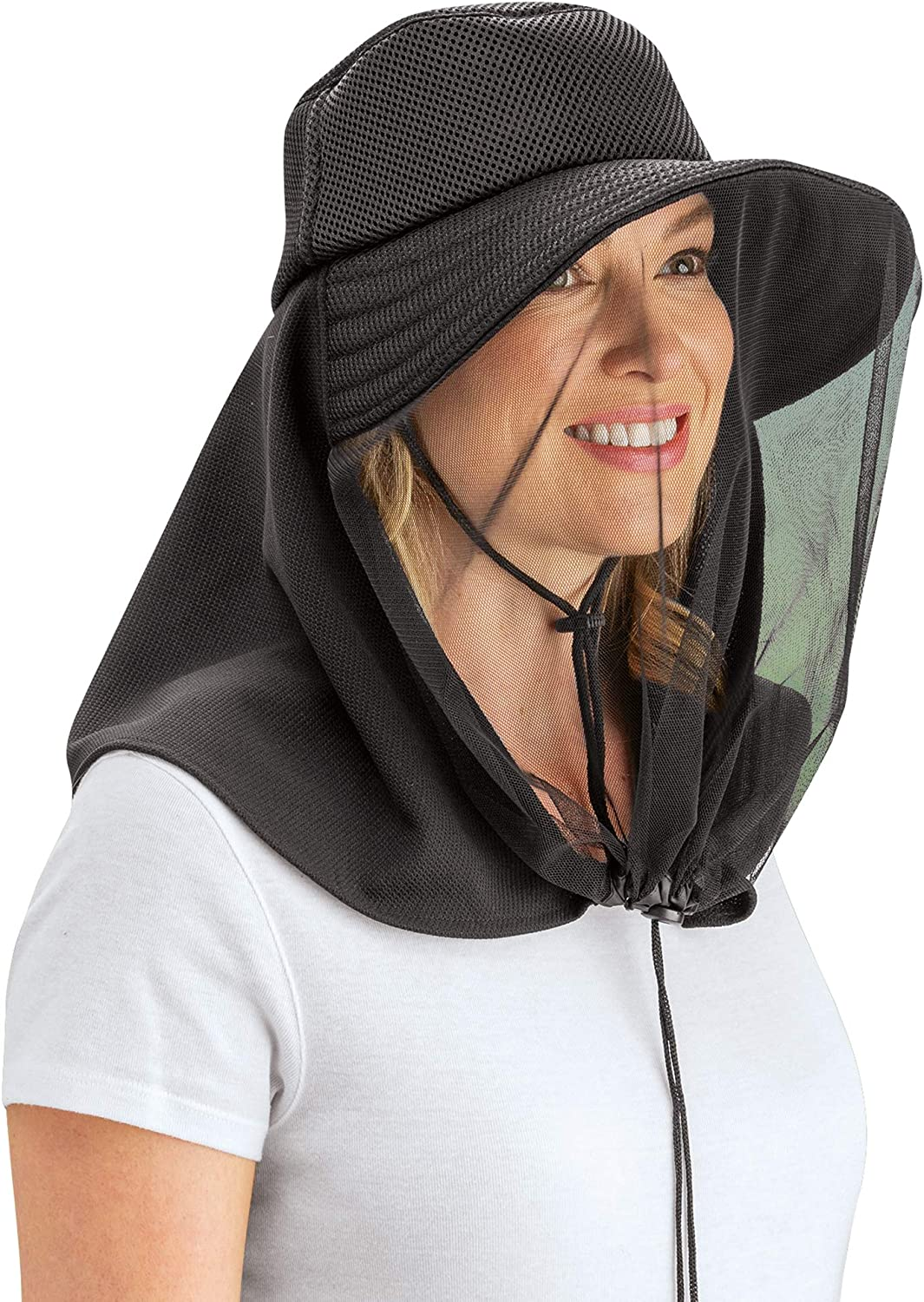 Protective Lightweight Black Mesh Mosquito Netting Hat - Wide Brim - Sun Protection - Hand Wash