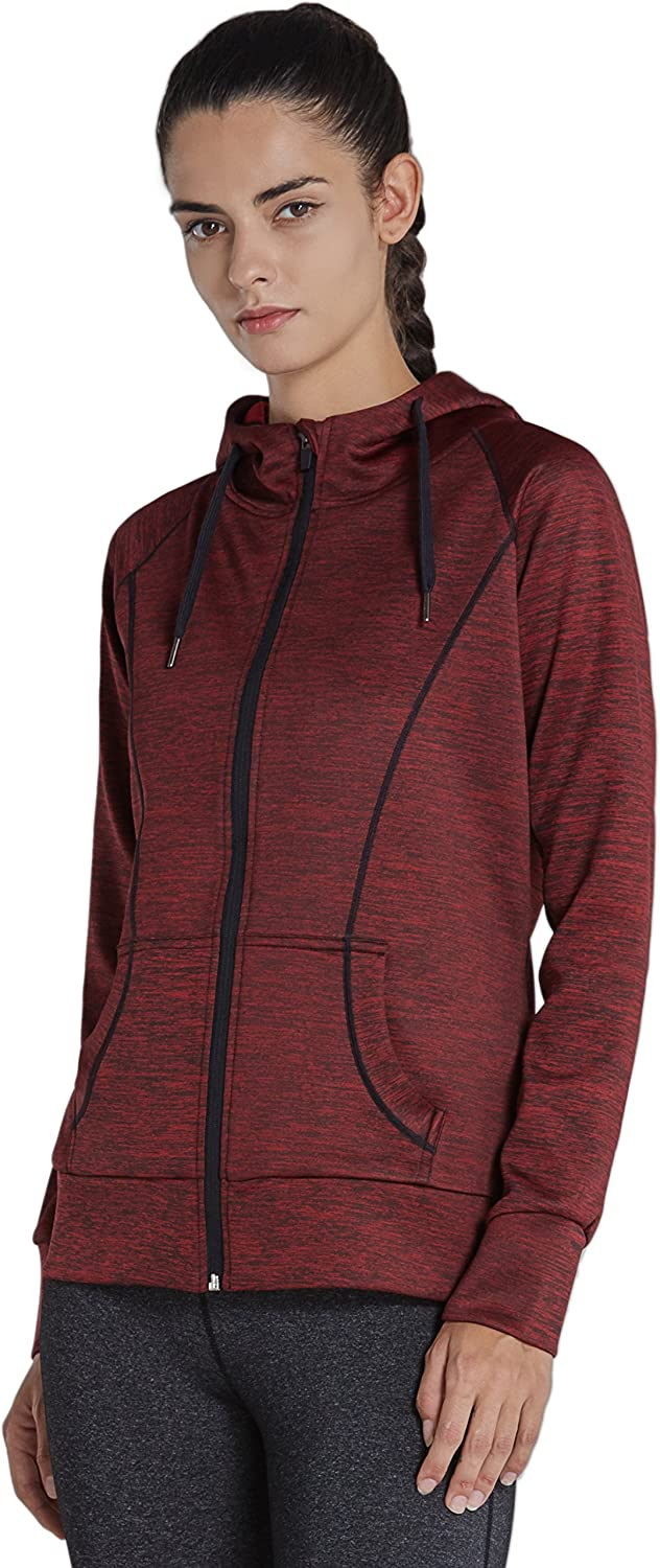 Komprexx Womens Lightweight Full Zip Hooded Track Jackets Athletic Long Sleeve Running Top with Thumb Holes