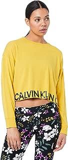 Calvin Klein Women's Calvin Long Sleeve Raw Hem Pullover, Black White Combo, L