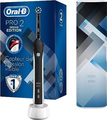 Oral-B Pro2 - 2500 - Brosse À Dents Électrique Rechargeable, 1Manche Avec Capteur De Pression Visible, 1Brossette,...