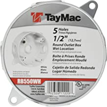 TayMac RB550WH Round Box Cover Kit Weatherproof 1/2-Inch Outlets, White, Finish