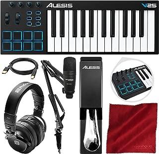 Alesis V25 25-Key USB MIDI Keyboard Controller & Drum Pad with Marantz Pod Pack 1 Broadcasting Kit, PreSonus Headphones, Sustain Pedal, and Platinum Bundle