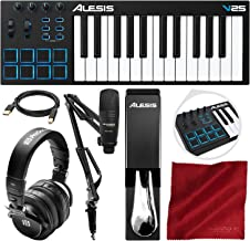 Alesis V25 25-Key USB MIDI Keyboard Controller & Drum Pad with Marantz Pod Pack 1 Broadcasting Kit, PreSonus Headphones, Sustain Pedal, and Platinum Bundle