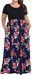 eb7f3bfe4c9 kissmay Women s Plus Size Casual Short Sleeve Floral Maxi Dresses with  Pockets