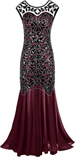 PrettyGuide Women  s 1920s Black Sequin Gatsby Maxi Long Evening Prom Dress 893adcc7f