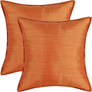 CaliTime Pack of 2 Silky Throw Pillow Covers Cases for Couch Sofa Bed Modern Light Weight Dyed Striped 18 X 18 Inches Orange